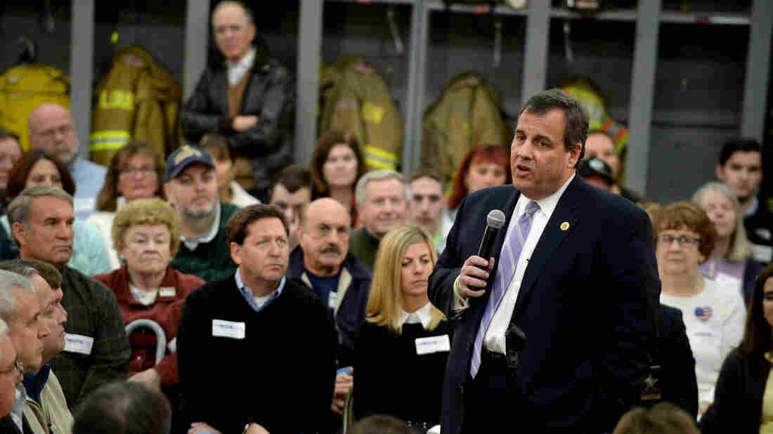 Chris Christie speaks at a town hall meeting at the Loudon Fire Department in Loudon, N.H., last November.