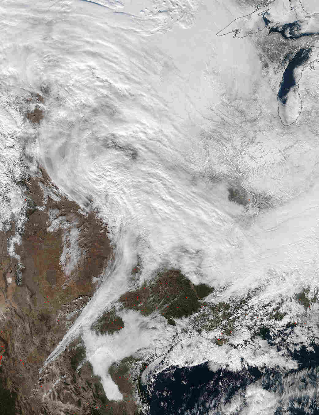 NASA's image of the day Thursday showed the storm on Wednesday, when it was still building over the central U.S. The storm system started in the Pacific ocean, tracked across the U.S. to the Gulf Coast and then moved toward the Mid-Atlantic region.