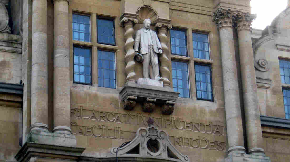 A statue of Cecil Rhodes stands on Oriel College at Oxford University.