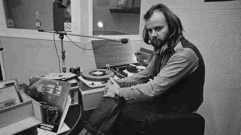 John Peel in the studio at the BBC in 1972.