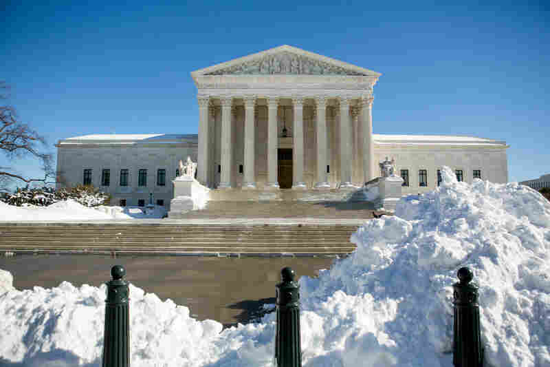 Snow is mostly cleared from around the Supreme Court.