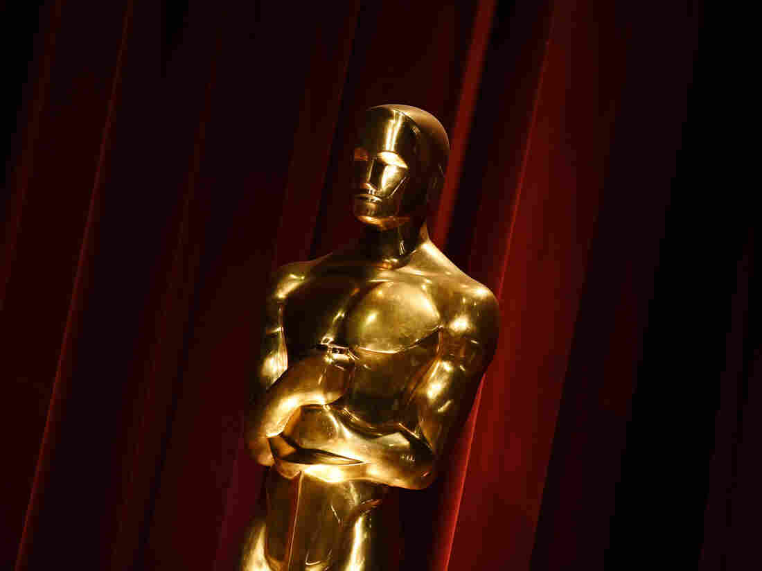An Oscar statue, on display during the Academy Awards nominations announcement in Beverly Hills, Calif., on Jan. 14.