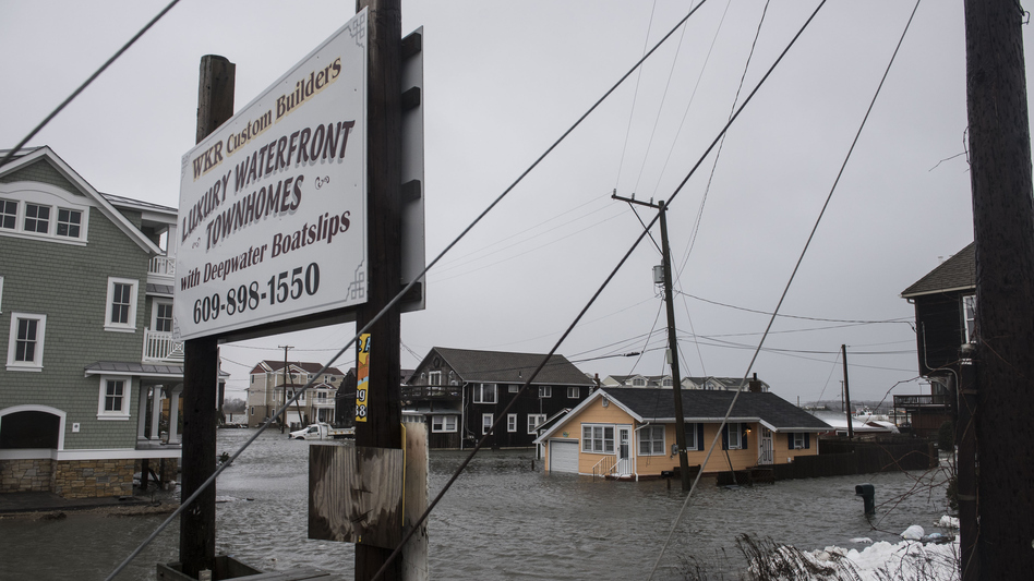 The winter storm mixed with high tide caused flooding in Cape May, N.J., on Saturday. Severe flooding up and down the coast has, in some areas, topped the water levels caused by Hurricane Sandy. (Getty Images)
