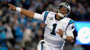 Cam Newton celebrates after a touchdown against the Arizona Cardinals, on Sunday in Charlotte, N.C.