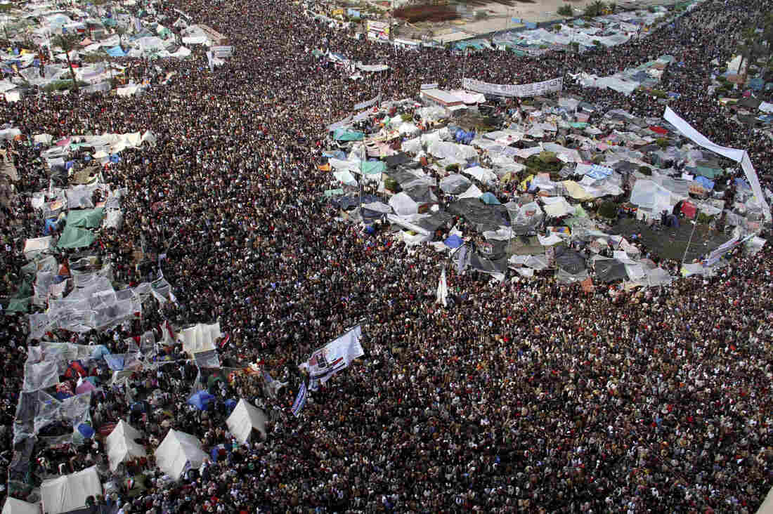 Tens of thousands of anti-government protesters gather in Tahrir Square in Egypt on Feb. 11, 2011, the day Hosni Mubarak stepped down.