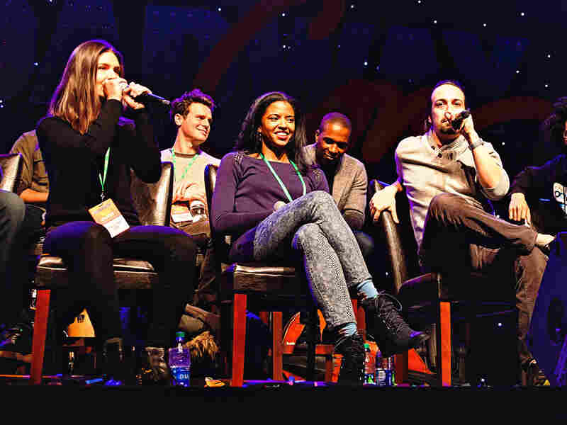 Hamilton creator and star Lin-Manuel Miranda does a freestyle rap about BroadwayCon while co-star Phillippa Soo lays down a beat.