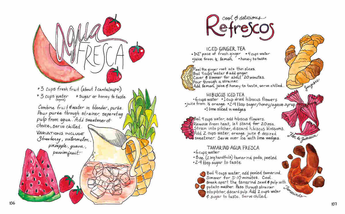 Recipes for agua fresca, beverages made with fresh fruit, and refrescos like iced ginger and iced hibiscus teas.