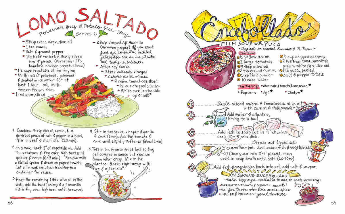Illustrated recipes for lomo saltado, a Peruvian beef and potato stir fry, and encebollado, a fish soup with yuca that is typical in coastal Ecuador and northern Peru.