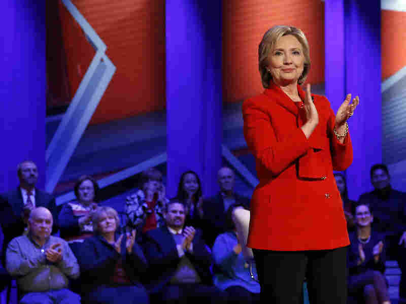 Democratic presidential candidate Hillary Clinton applauds after a CNN town hall at Drake University in Des Moines, Iowa, on Monday.