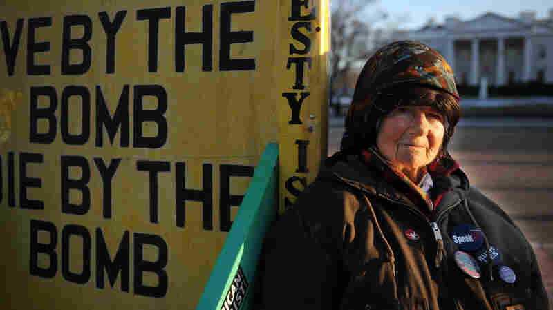 Concepcion Picciotto, who carried out a protest vigil that lasted decades, has died. She's seen here in 2009, across the street from the White House.