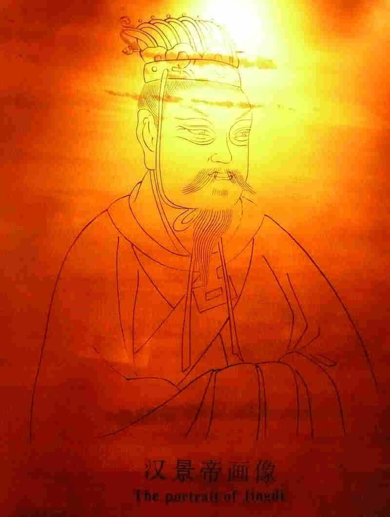 The 2,100-year-old tea leaves were found in the tomb of the Jing Emperor Liu Qi, who died in 141 B.C. His portrait hangs in the Han Yangling museum in Xianyang, China.
