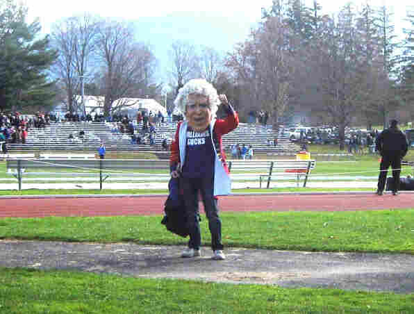 """Amherst's unofficial mascot, """"Lord Jeff,"""" as seen at a game at Williams College's Weston Field in Williamstown, Mass., in 2011."""
