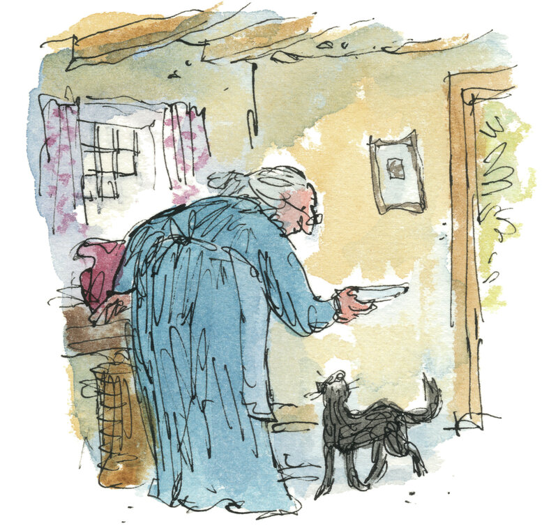 Illustration by Quentin Blake for Kitty-in-Boots