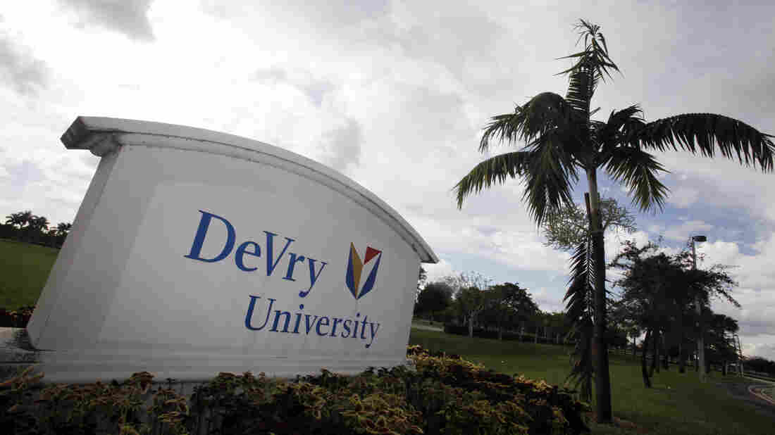 The entrance to the DeVry University in Miramar, Fla.