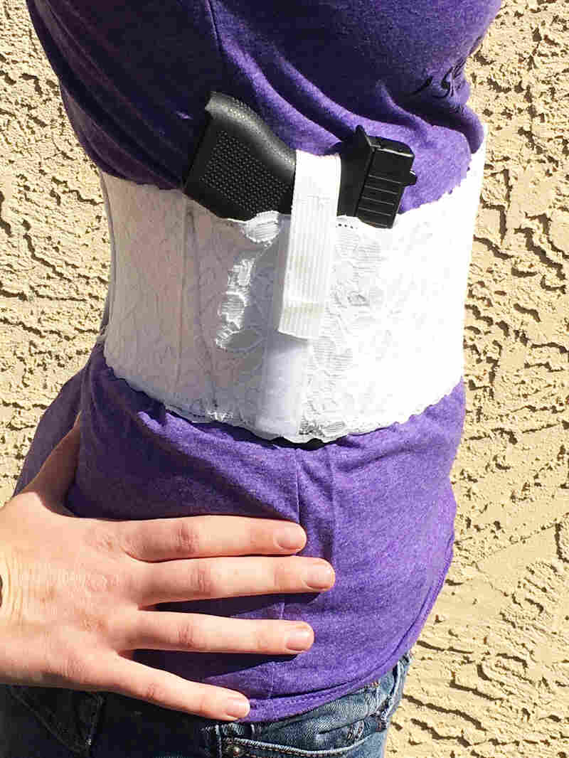 Items like this lace bellyband holster are designed specifically for women's bodies.