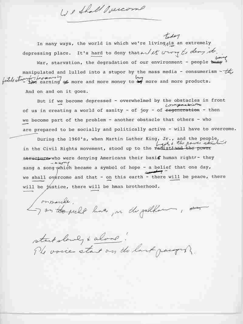 Bernie Sanders' monologue script for the 1987 album, We Shall Overcome.
