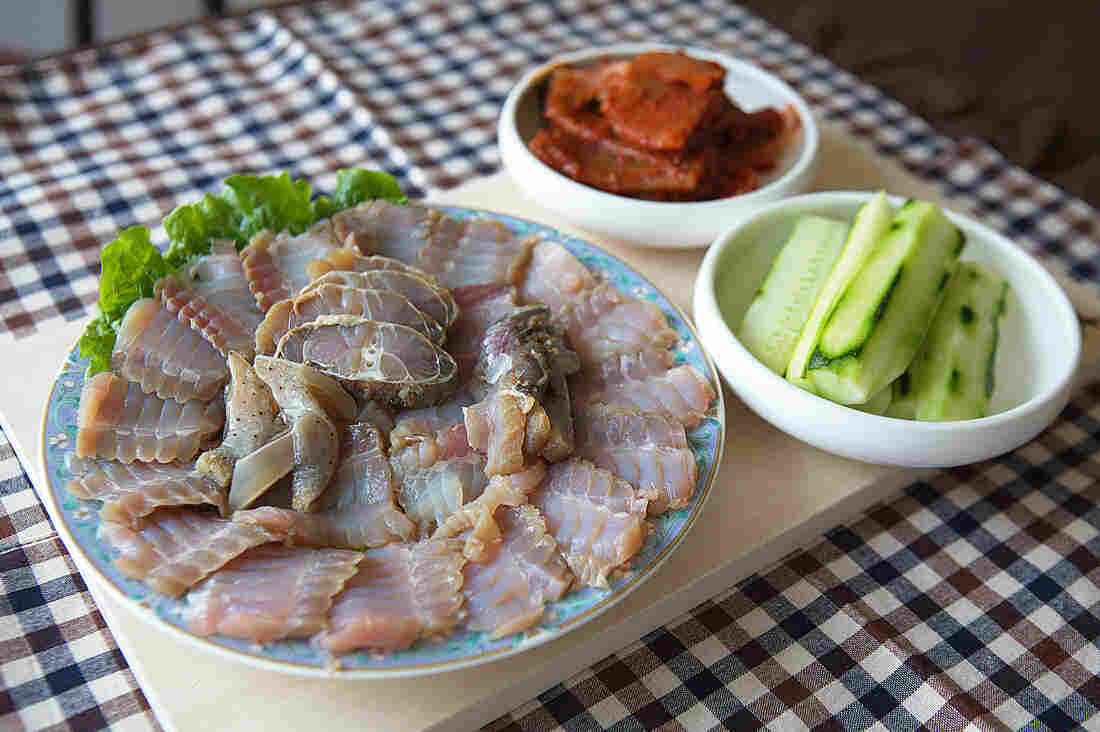 Hongeo, a dish of skate left to ferment in its own urine, is a beloved delicacy in parts of South Korea — despite its overpowering ammonia smell. A sashimi platter of hongeo for three to four people usually costs anywhere from 60,000 ₩ (U.S. $49.78) to 150,000 ₩ (U.S. $124.46).