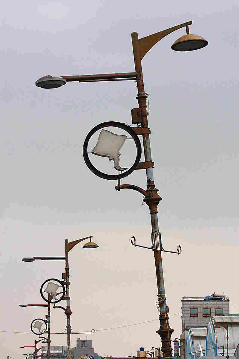 Trawling for skate, the key ingredient in hongeo, is big business in Mokpo's bustling harbor, as the decorations on these lampposts attest.