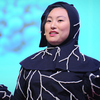 Jae Rhim Lee models her mushroom burial suit at the TED conference.