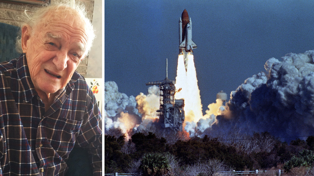 (Left) Bob Ebeling in his home in Brigham City, Utah. (Right) The Challenger lifts off on Jan. 28, 1986, from a launchpad at Kennedy Space Center, 73 seconds before an explosion killed its crew of seven. ((Left) Howard Berkes/NPR; (Right) Bob Pearson/AFP/Getty Images)