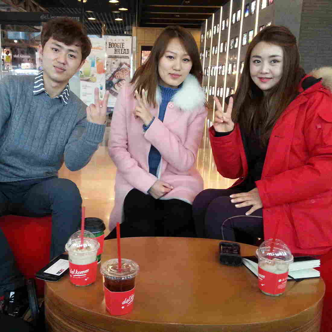 """Han Seohee (right) and fellow North Korean defectors Lee Gwang-sung (left) and Hwang Soyeon (center) are regulars on Moranbong Club, a South Korean talk show featuring North Korean defectors. """"There's a lot of prejudice toward North Korean defectors in South Korea,"""" Han says. """"So I wanted to show South Koreans that we're living here and trying the best we can."""""""