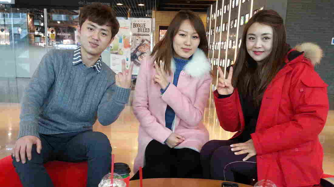 "Han Seohee (right) and fellow North Korean defectors Lee Gwang-sung (left) and Hwang Soyeon (center) are regulars on Moranbong Club, a South Korean talk show featuring North Korean defectors. ""There's a lot of prejudice toward North Korean defectors in South Korea,"" Han says. ""So I wanted to show South Koreans that we're living here and trying the best we can."""