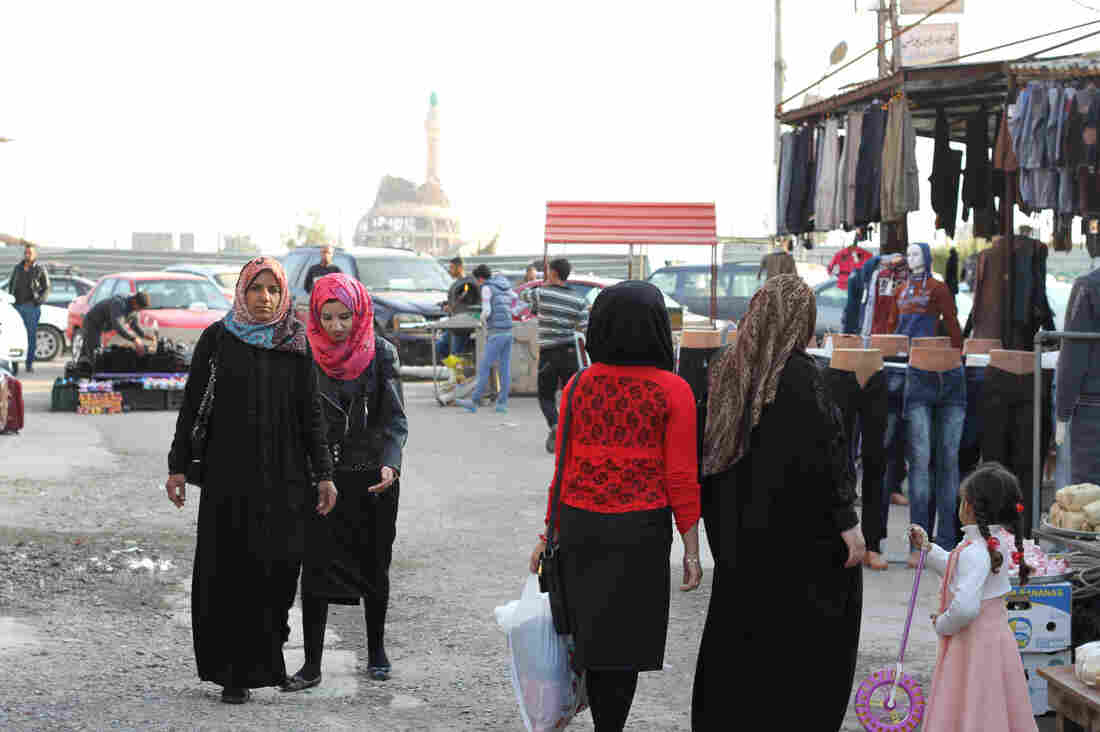The main market in Tikrit is bustling despite damage from months of occupation by ISIS and battles to push the extremists out.