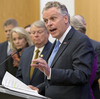 Virginia Gov. Terry McAuliffe is joined by members of the House and Senate as he announces a compromise on a set of gun bills at the Capitol in Richmond, Va., on Friday.