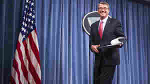 Defense Secretary Ash Carter leaves a news conference at the Pentagon on Thursday. In an interview with NPR, Carter said a top priority was to drive the Islamic State out of its headquarters in Raqqa, Syria, and from Mosul, Iraq, that country's second largest city.