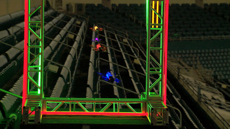 Drones race at Sun Life Stadium near Miami. (The Drone Racing League)