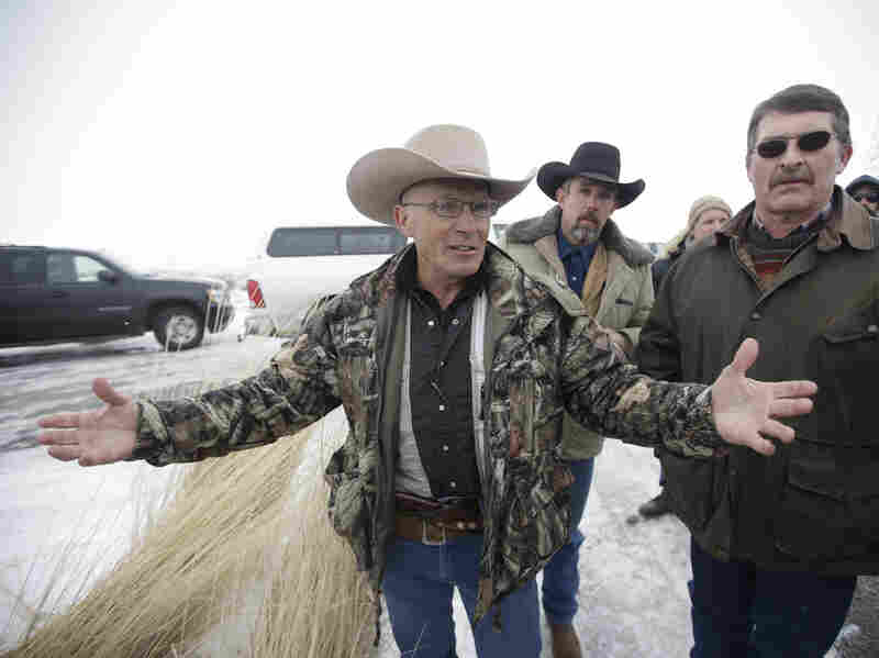 """Robert """"LaVoy"""" Finicum speaking to journalists earlier this month at the Malheur National Wildlife Refuge near Burns, Ore."""