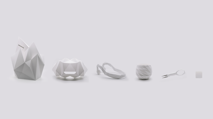 Project Nourished's virtual eating gizmos. From left: An atomizer that releases the scents of a food; a virtual reality headset; a a device that mimics the chewing sounds transmitted from a diner's mouth to their ear drums; a cocktail glass with built-in sensors; a utensil that picks up on the diner's movements and integrates them into the virtual reality experience; and a 3-D printed food cube.