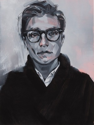 """All of Campbell's portraits — including this one of L.A. artist Lia Halloran, above — are done in black, white, grays and salmon pink. Campbell calls this her """"vocabulary of marks and tones and textures."""""""