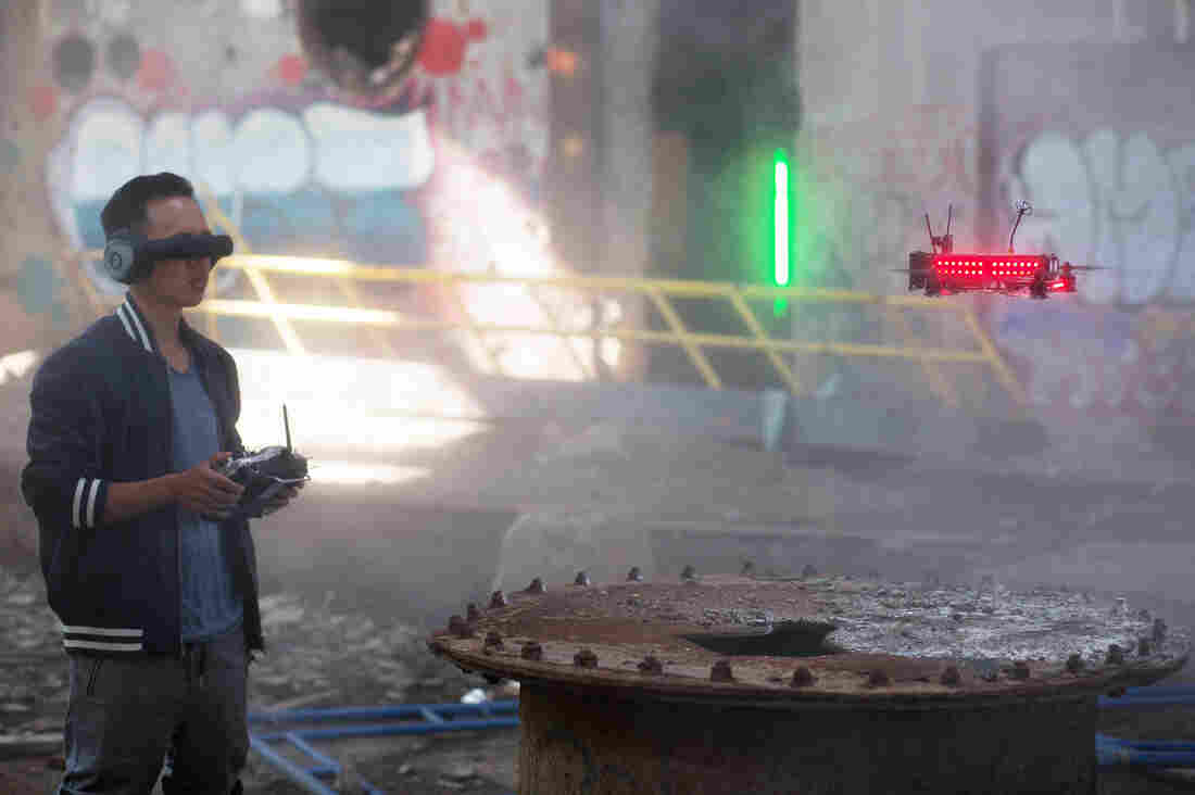UmmaGawd (Tommy Tibajia), a pilot in the Drone Racing League, flies his quadcopter in an abandoned power plant in New York.