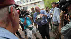 "A New Hampshire primary event is ""immediately recognizable,"" David M. Shribman writes in the Boston Globe. There are baseball-capped old people and banner-waving young people — and candidates putting in long hours of face time. Here, Bernie Sanders speaks to an overflow crowd through a megaphone after a campaign event at the New England College on May 27, 2015, in Concord, N.H."