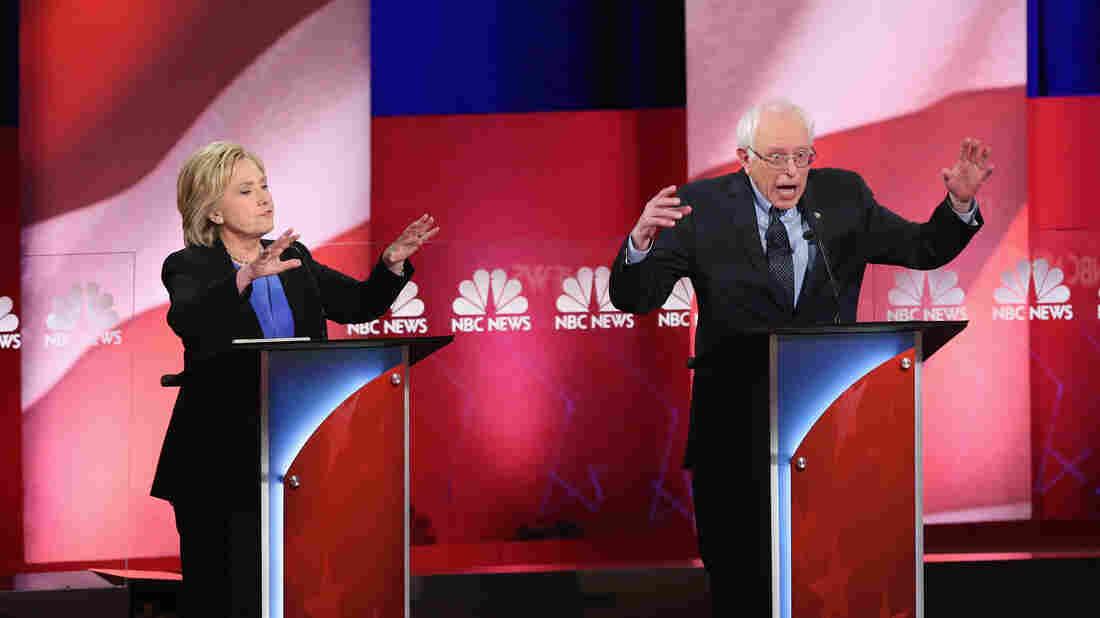 Hillary Clinton and Bernie Sanders appear at the last Democratic presidential debate on Jan. 17 in Charleston, S.C.