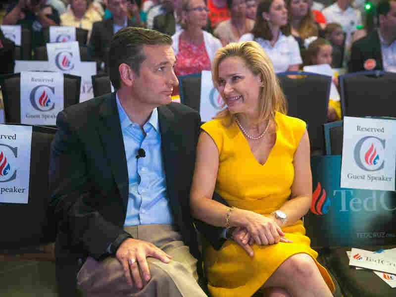 Republican presidential candidate Sen. Ted Cruz (R-Texas) chats with his wife Heidi Cruz at the Religious Liberty Rally he was hosting in Des Moines, Iowa in August.