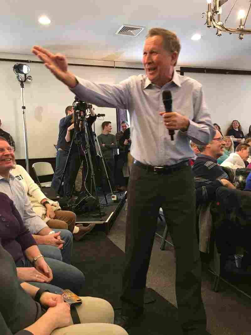 Ohio Gov. John Kasich speaks to voters at a town hall in Merrimack, N.H., on Saturday.