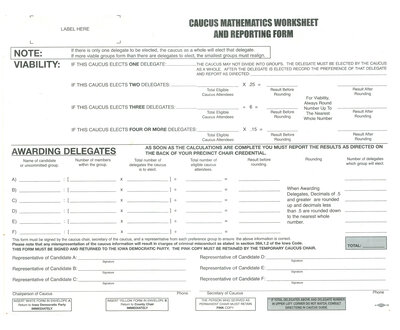 The official caucus math worksheet on the Democratic side that has been used in years past.