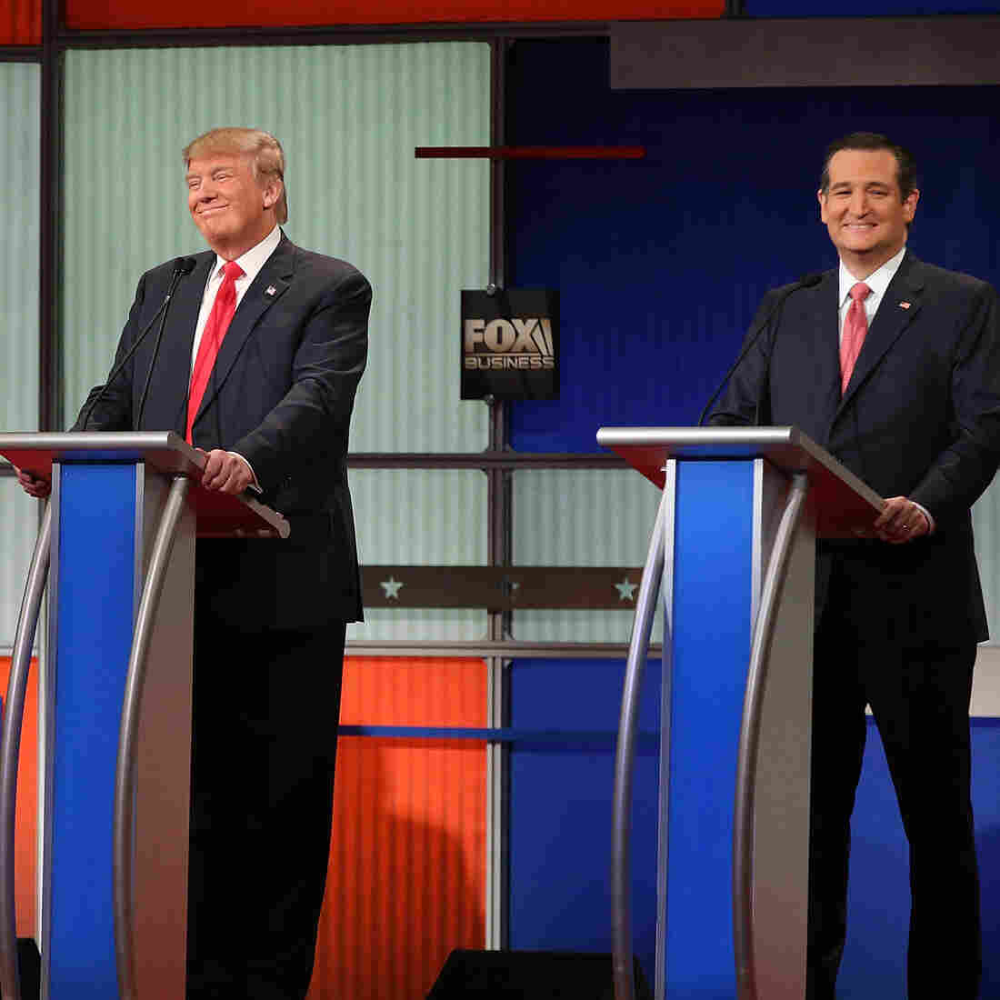Republican presidential candidates, from left to right, Sen. Marco Rubio, R-Fla., Donald Trump and Sen. Ted Cruz, R-Texas participate in the sixth GOP debate on Jan. 14 in North Charleston, S.C.