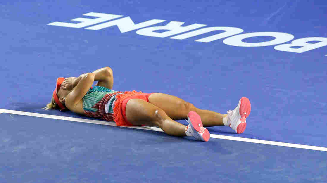 Angelique Kerber of Germany celebrates winning the Women's Singles Final against Serena Williams during the 2016 Australian Open on Saturday.