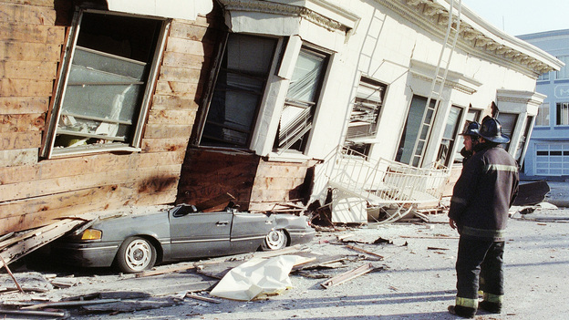 This San Francisco home collapsed in the 1989 Loma Prieta earthquake, which also claimed dozens of lives. (AFP/Getty Images)