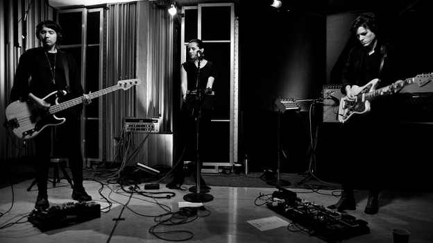 Savages performs live on KCRW. (KCRW)