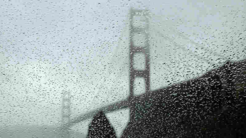 California's Golden Gate Bridge during a rainstorm. Scientists believe the moon's position has an impact on the amount of rainfall.