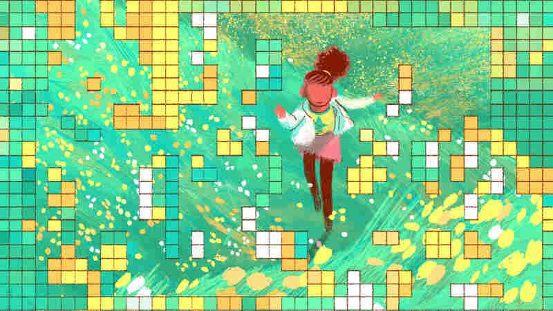 Teenage girl running through her childhood into adulthood