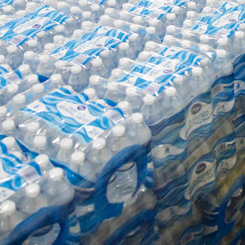 Pallets of bottled water are seen ready for distribution in a Flint, Mich., warehouse on Jan. 21. The warehouse is the emergency water supply for Flint residents affected by lead-contaminated water.
