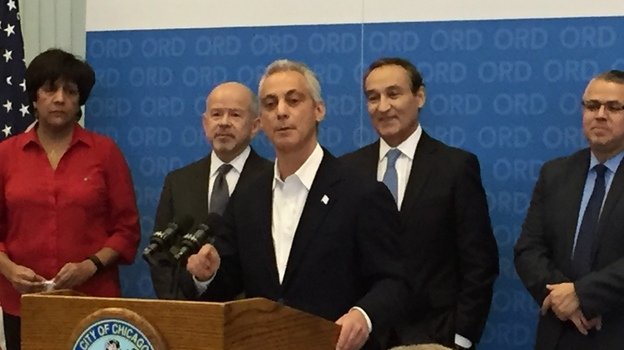 Chicago Mayor Rahm Emanuel announces an agreement to build a sixth runway at O'Hare International Airport, flanked by FAA Administrator Michael Huerta (left) and United Airlines President and CEO Oscar Munoz. (NPR)