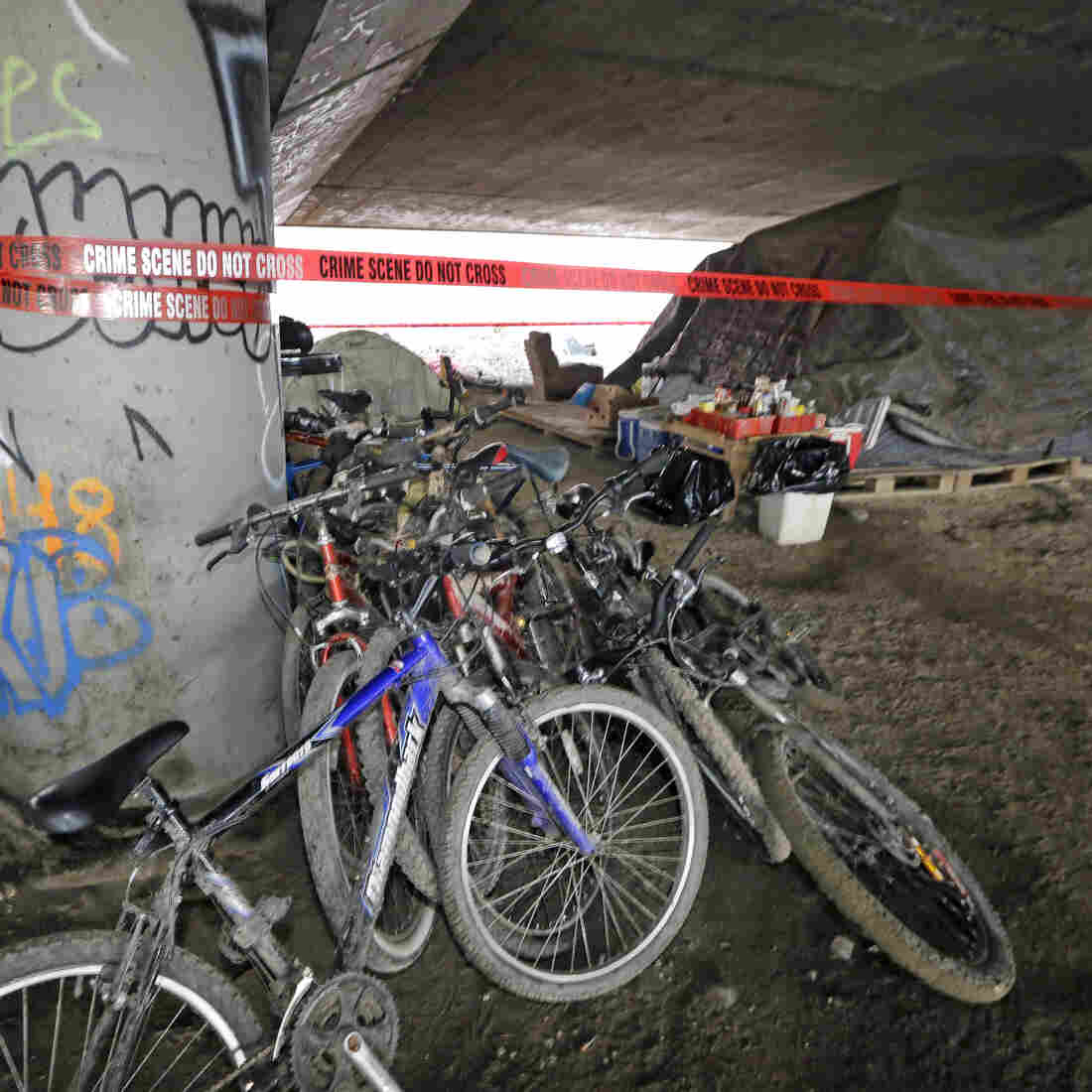 The area under Interstate 5 in Seattle where a shooting took place last week. Police say they've arrested three teenagers in the case.