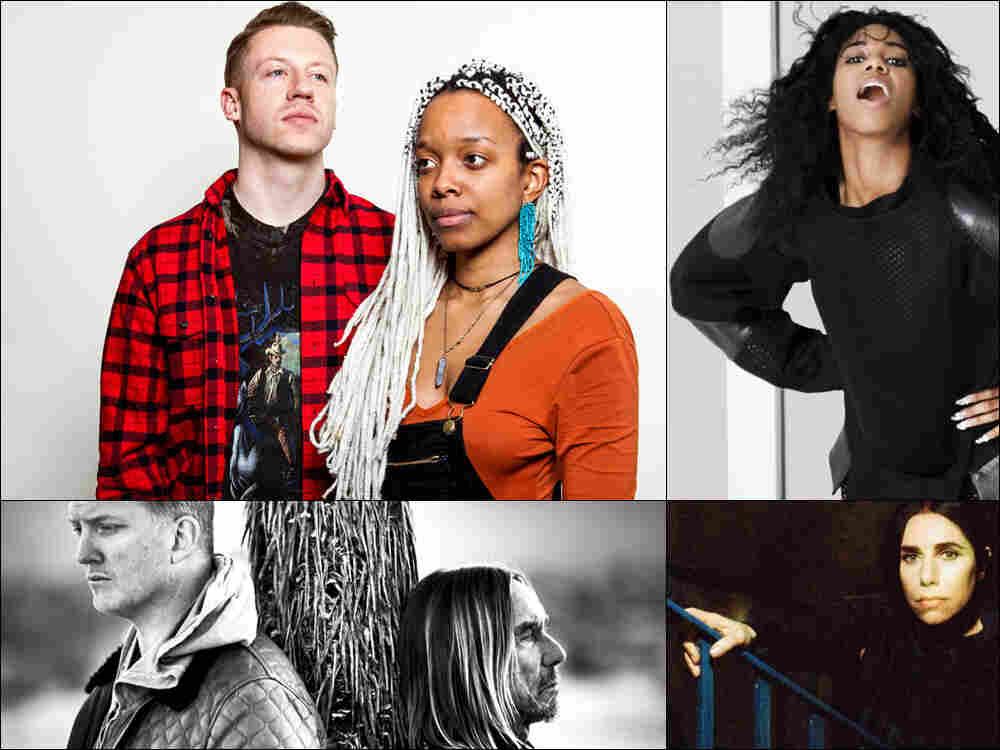Clockwise from upper left: Macklemore and Jamila Woods, Santigold, PJ Harvey, Iggy Pop and Josh Homme