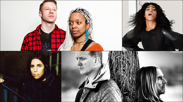 Clockwise from upper left: Macklemore and Jamila Woods, Santigold, PJ Harvey, Iggy Pop and Josh Homme (Courtesy of the artists)